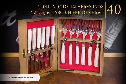 CONJUNTO DE TALHERES CABO  CHIFRE DE CERVO 12 PEÇAS