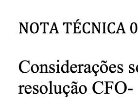 Nota técnica 01/2019 - Considerações sobre a resolução CFO 195/2019