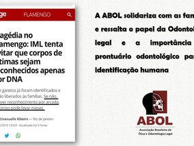 A ABOL solidariza com as famílias e ressalta o papel da Odontologia legal e a importância do prontuá