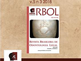 Nova edição da RBOL- Revista Brasileira de odontologia Legal já está disponível