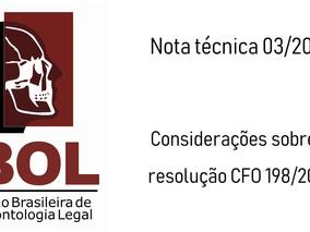 Nota técnica 03/2019 - Considerações sobre a resolução CFO 198/2019