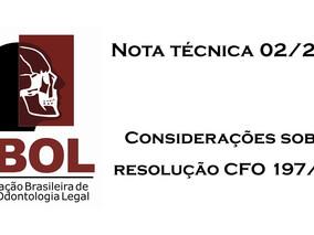 Nota técnica 02/2019 - Considerações sobre a resolução CFO 197/2019 e ensino EAD