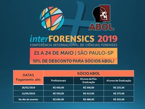 O primeiro lote de inscrições do InterForensics encerra HOJE!
