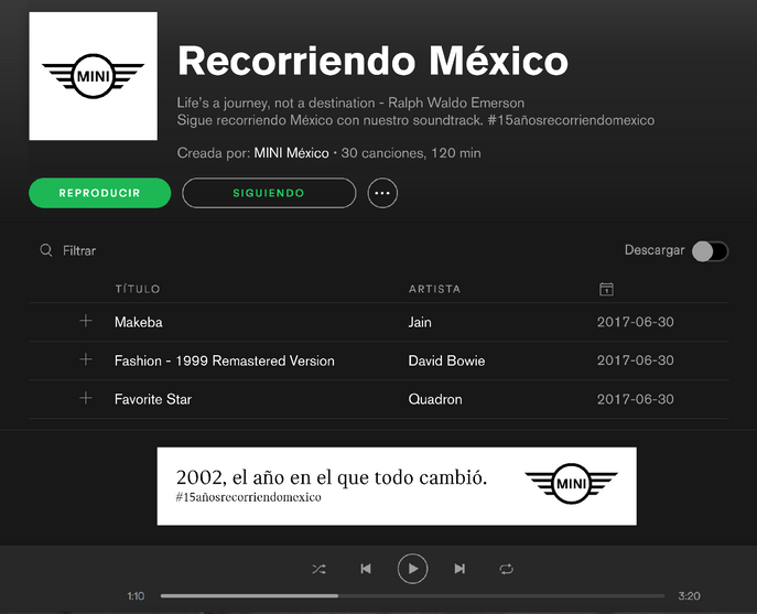Playlist en Spotify