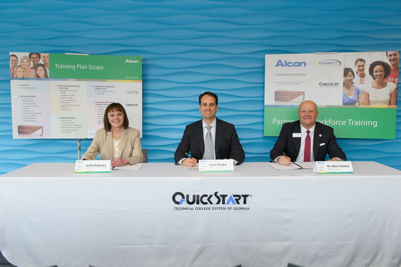 From left: Jackie Rohosky, Technical College System of Georgia assistant commissioner for economic development programs, Georgia Quick Start; Jason Mastry, Alcon head of manufacturing LS3 Dailies Total1; and Dr. Glen Cannon, Gwinnett Technical College president, sign a training plan.