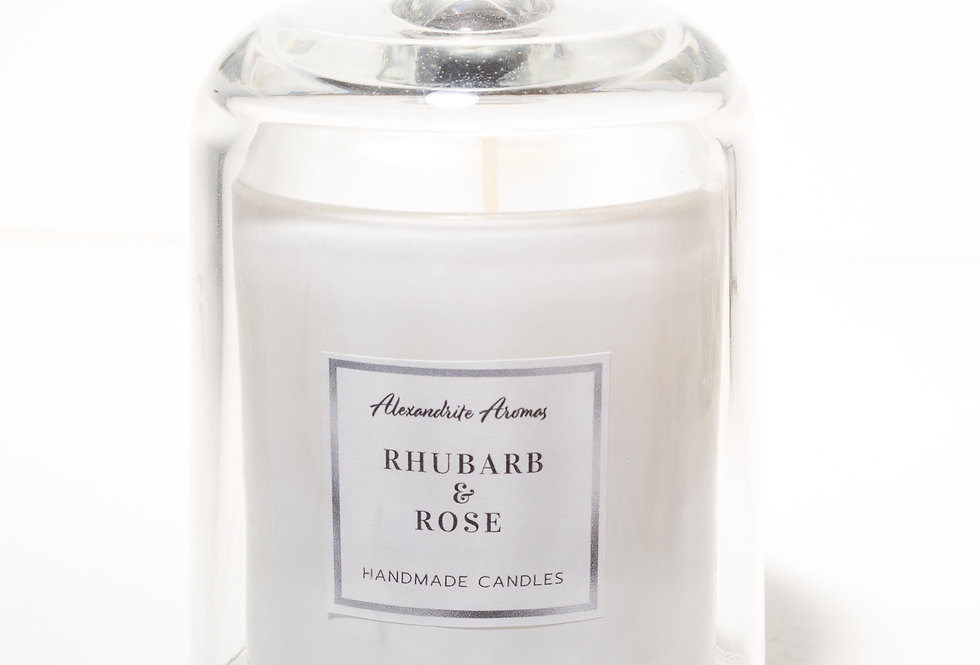 Rhubarb and Rose Cloche Candle