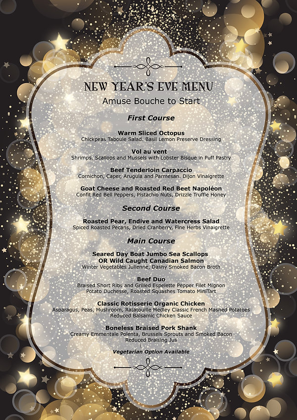 The Chef Table's New Year Eve Menu 2019