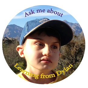 Ask me about Learning from Dylan encircles a picture of Dylan, a young man with CHARGE Syndrome.