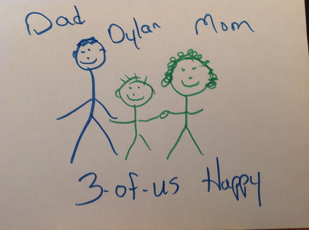 co-drawing of 3 stick figures holding hands with smiles on their faces. The figures are labeled Dad, Dylan, and Mom. The bottom of the page says 3-of-us Happy.