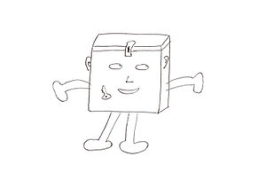 Drawing of a square with face, arms, and legs, with the lid latched shut, a key is inside the box, labeled The Box of Deafblindness™