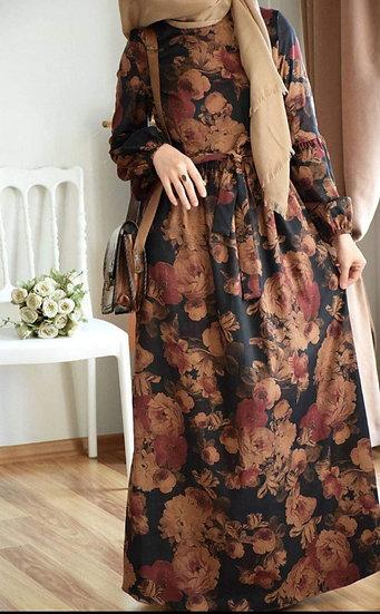 F-  Floral Dress (Black)