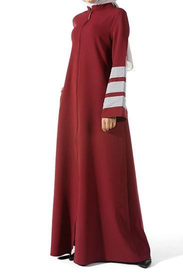 F - ALLDAY ABAYA RED قالب واسع