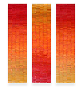 Gold to Red Ombre Triptych
