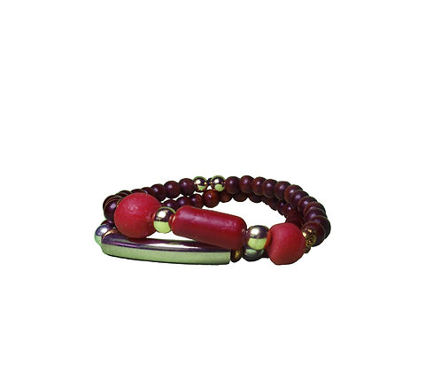 Recycled Red Glass Clay Bracelet