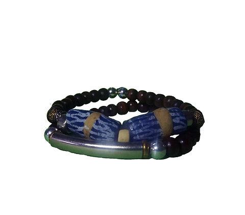 Recycled Blue Glass Bracelet