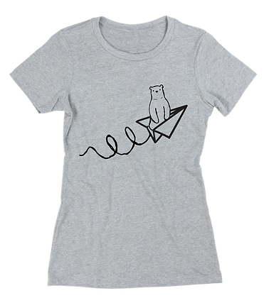 Women's Polar Bear in Plane t-shirt