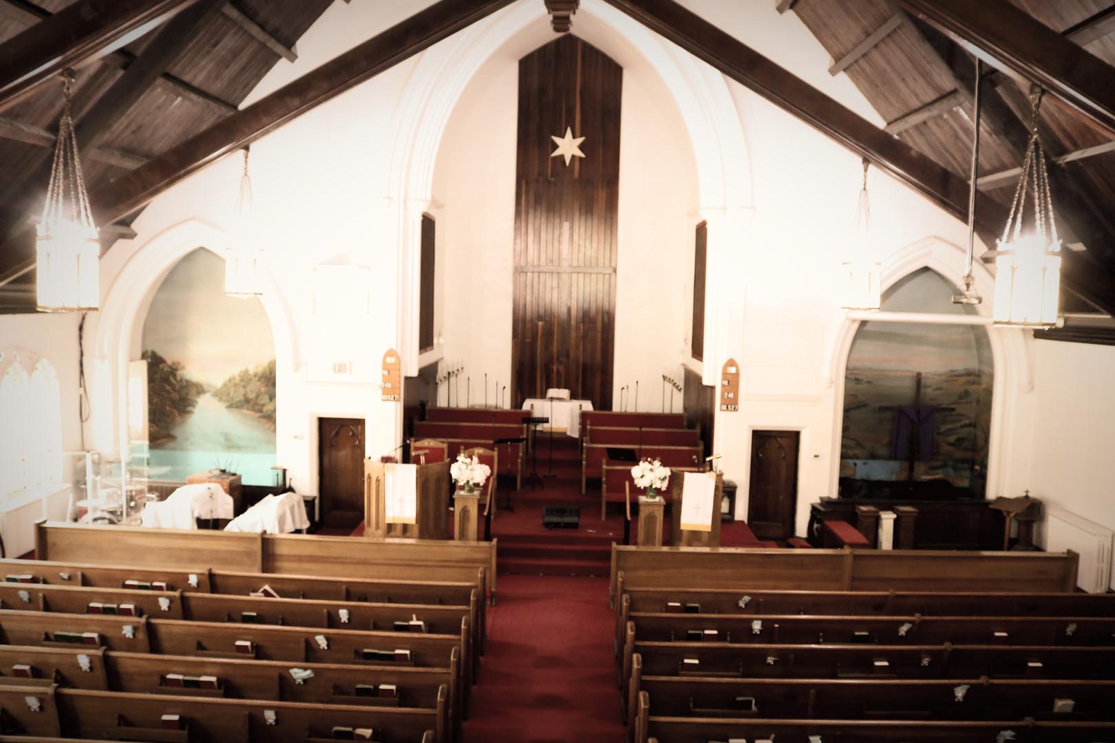 Inside church sanctuary from balcony