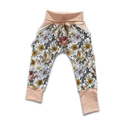 Pantalon ÉVOLUTIF fleuri vintage rose