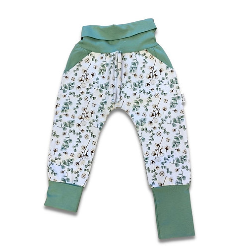 Pantalon ÉVOLUTIF eucalyptus fleur de coton