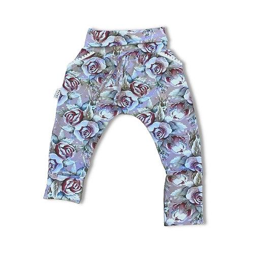 Pantalon ÉVOLUTIF fleuri mauve