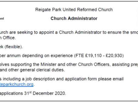 Vacancy for Church Administrator