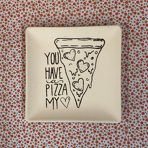 Square coloring book plate -pizza my heart