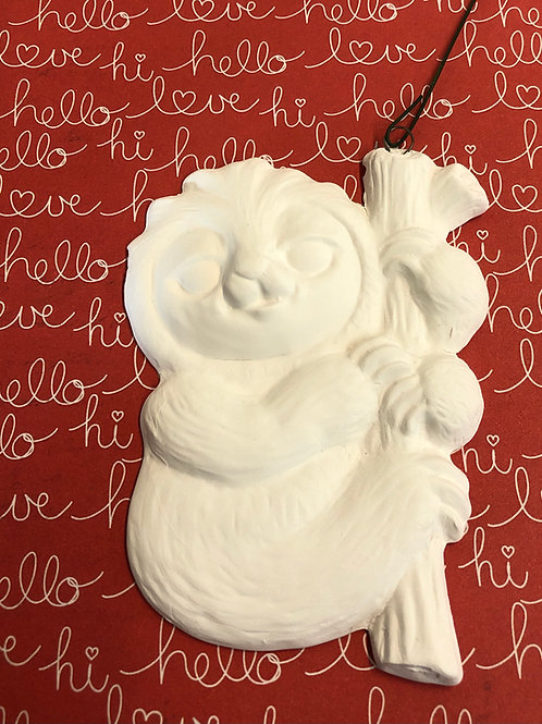 Flat sloth ornament