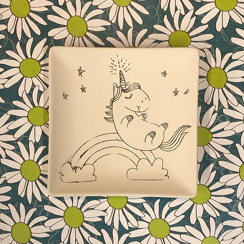 Square coloring book plate -unicorn on rainbow