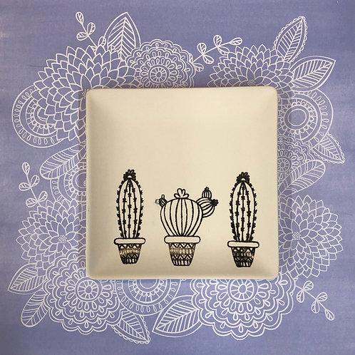 Square coloring book plate -3 cacti