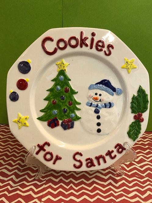 Cookies for Santa Plate w/Snowman