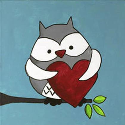 Owl love canvas