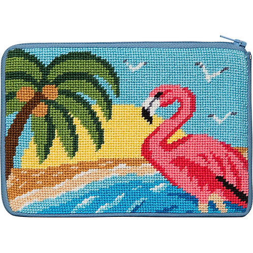Flamingo needlepoint large case