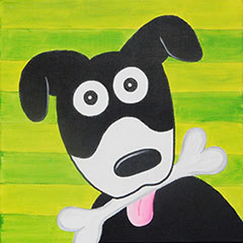 Dog with Bone canvas