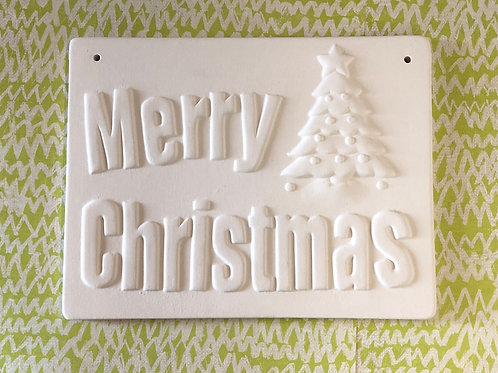 Merry Christmas hanging plaque