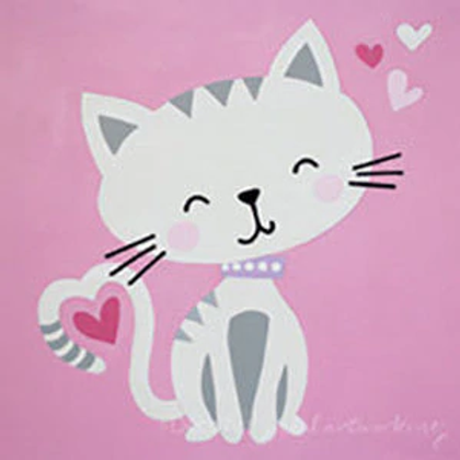Kitty with hearts canvas