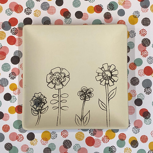 Square coloring book plate -flowers