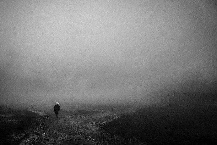Zapatista Walking, Mexico 2014, Black and White Archival Inkjet Print, Series of 5
