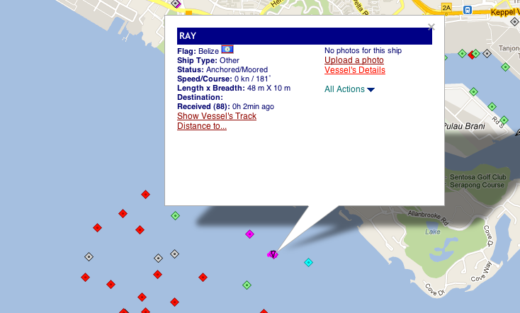 """IUU listed vessel Kily transmitting the name """"Ray"""" in Singapore, March 1st"""