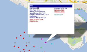 "IUU listed vessel Kily transmitting the name ""Ray"" in Singapore, March 1st"