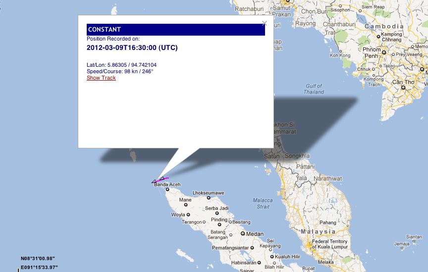 """IUU listed vessel Kily entering the Indian Ocean transmitting her old name """"Constant"""" through her AIS"""