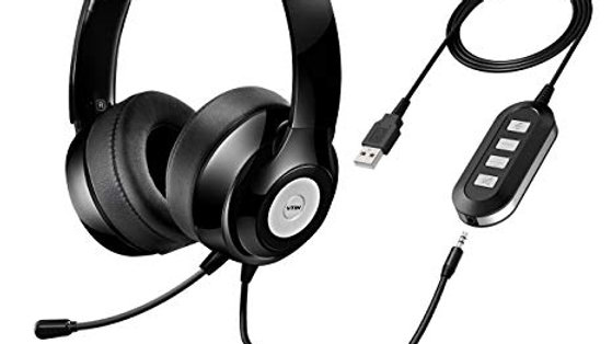 Vtin Headset with Microphone, USB Headset/ 3.5mm Computer Headphone Headset