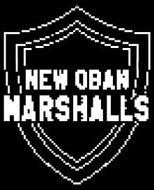 """A pixelated graphic of the New Oban Marshalls logo, which is a shield with """"New Oban Marshalls"""" text overlaid."""