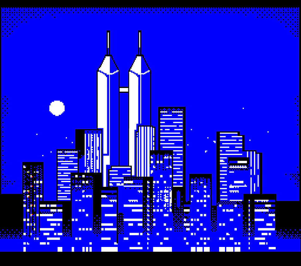Pixel art of the New Oban City skyline. The Redwood Heights Towers reach high above the rest of the smaller skyscrapers.
