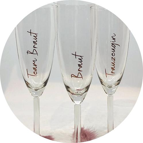 Sektglas Name, Personalisiert, Gastgeschenk, Getting Ready Hochzeit, Braut, Aufkleber Glas