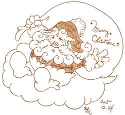 「サンタが雲でやって来た!」(クリスマスにちなんで)