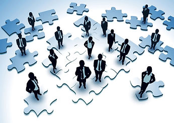 Graphic of People Standing on Puzzle Pieces, Questioning their Organizational Positioning.