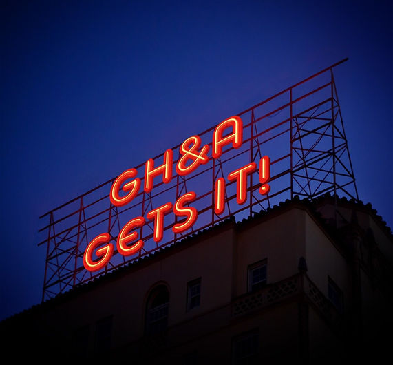"Photo of Neon Billboard, ""GH&A Gets it""!"