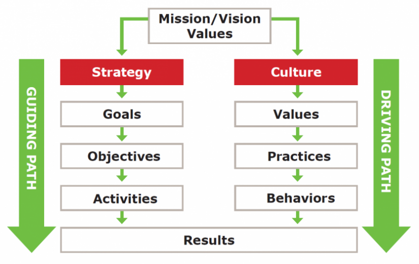 A Chart depicting the Vision Values for Both Strategy and Culture