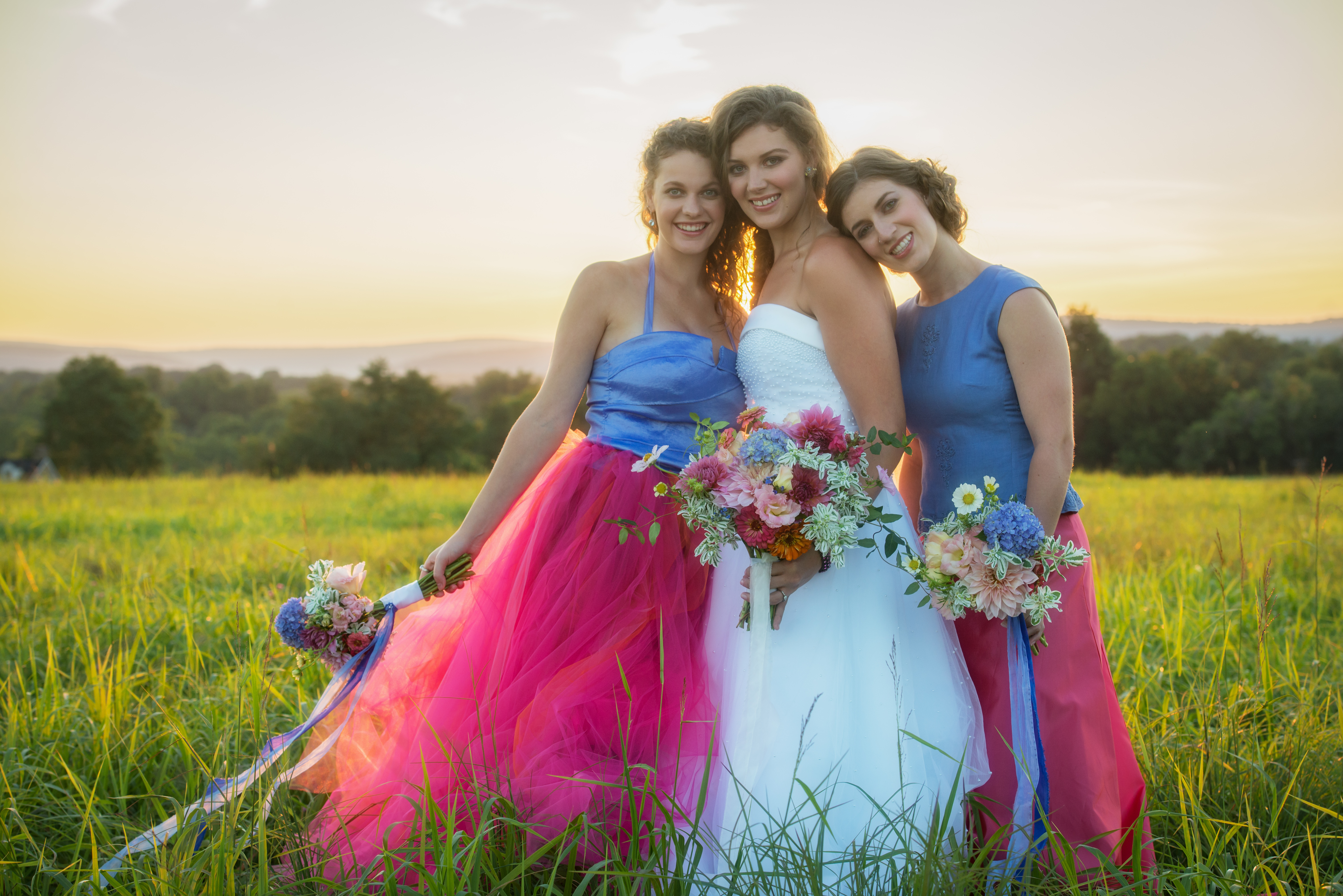 hot pink and periwinkle wedding
