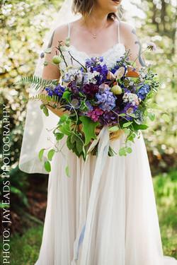 woodland purple bridal bouquet